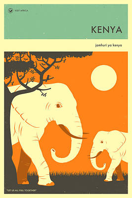 Elephant Digital Art - Kenya Travel Poster by Jazzberry Blue