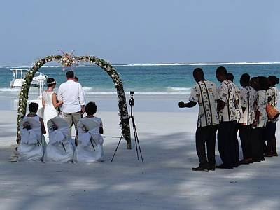 Exploramum Photograph - Kenya Wedding On Beach Happy Couple by Exploramum Exploramum