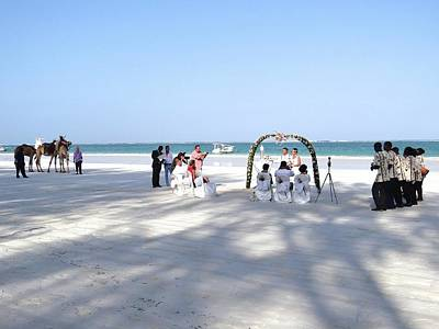 Exploramum Photograph - Kenya Wedding On Beach Wide Scene by Exploramum Exploramum
