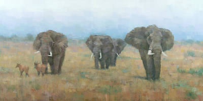 Painting - Kenyan Elephants by Steve Mitchell