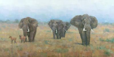 Wildlife Landscape Painting - Kenyan Elephants by Steve Mitchell