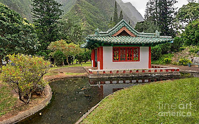 Koi Digital Art - Kepaniwai Pagoda by J Marielle