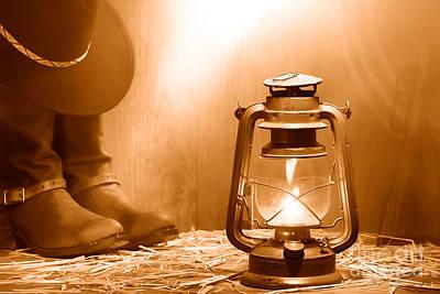 Kerosene Lamp At The Ranch - Sepia Art Print