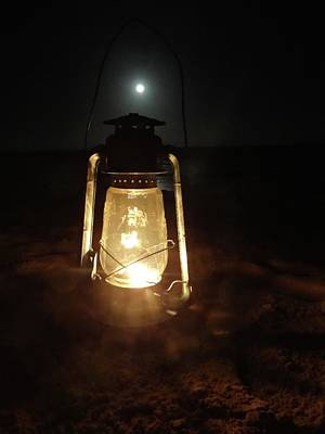 Explorason Photograph - Kerosine Lantern In The Moonlight by Exploramum Exploramum