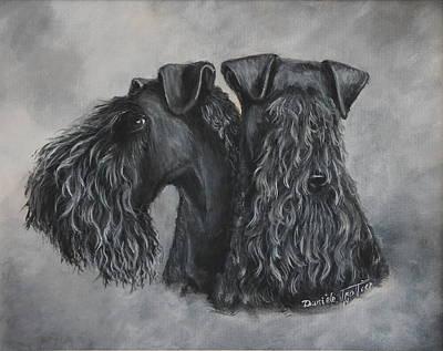 Tete Painting - Kerry Blue Terrier Portrait by Daniele Trottier
