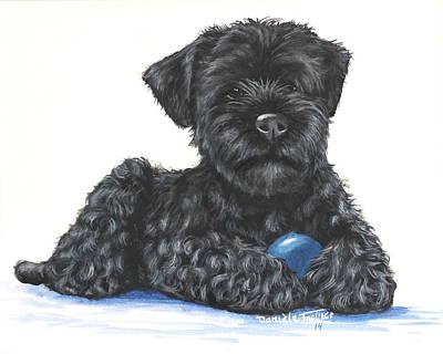 Schnauzer Puppy Painting - Kerry Blue Terrier Puppy by Daniele Trottier