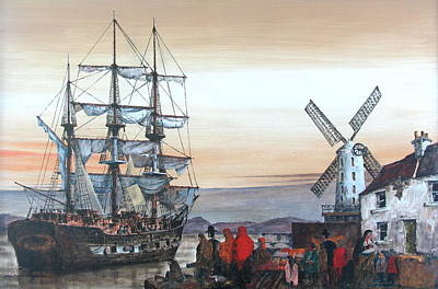 Painting - Ireland Canada Links.. Kerry.  The Jeanie Johnston Famine Ship In Blennerhasset.  by Val Byrne