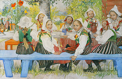 Scandinavian Painting - Kersti's Birthday by Carl Larsson