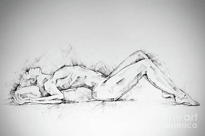 Drawing - Sketchbook Page 55 Charcoal Drawing Woman Lateral Pose by Dimitar Hristov