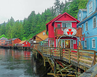 Digital Art - Ketchikan Alaska Creek Street by Rebecca Korpita