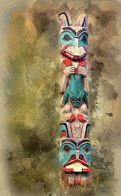 Ketchikan Alaska Totem Pole Art Print by Bellesouth Studio