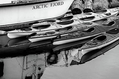 Photograph - Ketchikan Kayaks In Black And White by Joni Eskridge