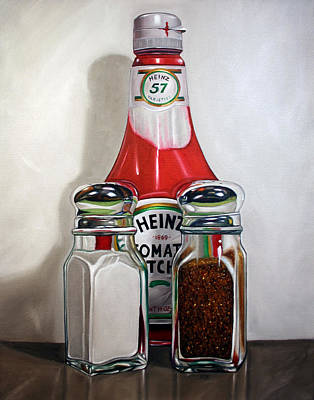 Baseball Painting - Ketchup And Salt And Pepper Shaker by Vic Vicini