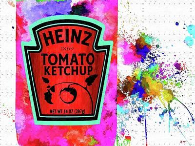 Tomato Mixed Media - Ketchup Colored Grunge by Daniel Janda