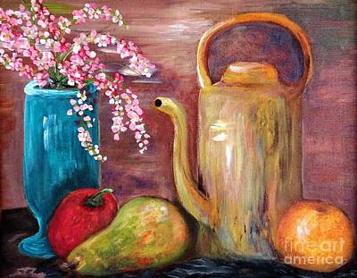 Apple Painting - Kettle And Fruit by Eloise Schneider