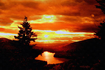 Mountain Sunset Digital Art - Kettle Pond Vermont by Frank Wilson