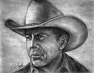 Yellowstone Drawing - Kevin Costner by Walter Israel