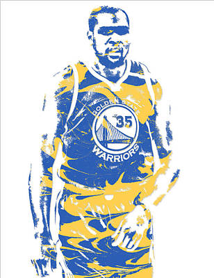 Mixed Media - Kevin Durant Golden State Warriors Pixel Art 17 by Joe Hamilton