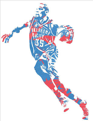 Mixed Media - Kevin Durant Oklahoma City Thunder Pixel Art 5 by Joe Hamilton