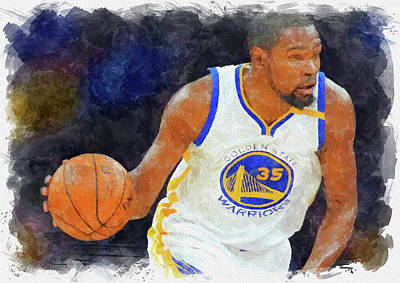 Athletes Royalty-Free and Rights-Managed Images - Kevin Durant Paint by Ricky Barnard