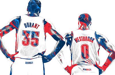 Oklahoma City Thunder Mixed Media - Kevin Durant Russell Westbrook Thunder Pixel Art by Joe Hamilton