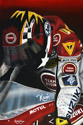 Motogp Painting - Kevin In Brno 1993 by Fernando Lopez Lago