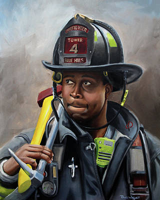 Fire Department Painting - Kevin by Paul Walsh