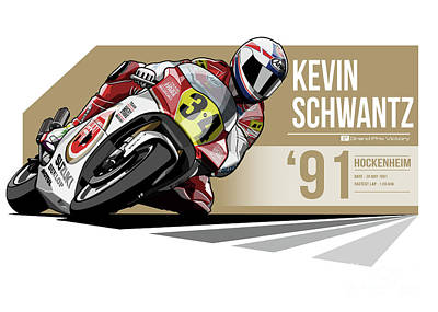 Indycar Digital Art - Kevin Schwantz - 1991 Hockenheim by Evan DeCiren