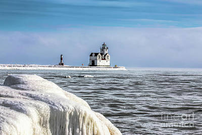 Nikki Vig Royalty-Free and Rights-Managed Images - Kewanee Wisconsin Lighthouse in Winter by Nikki Vig