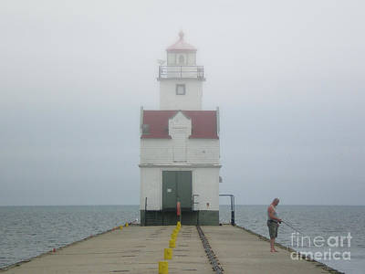 Nikki Vig Royalty-Free and Rights-Managed Images - Kewaunee Lighthouse Foggy  by Nikki Vig