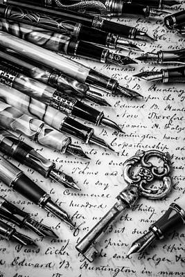 Key And Fountain Pens Art Print by Garry Gay