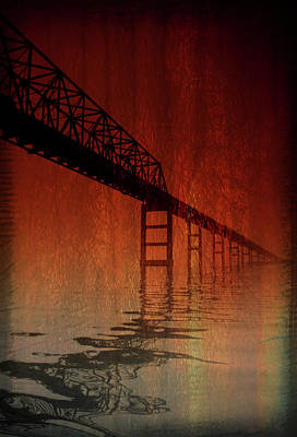 Rendition Photograph - Key Bridge Artistic  In Baltimore Maryland by Skip Willits