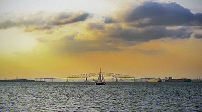 Photograph - Key Bridge From Ft Smallwood Pk - Paint Fx by Brian Wallace