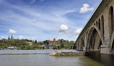 Georgetown Photograph - Key Bridge Into Georgetown by Brendan Reals