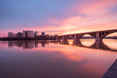 Photograph - Key Bridge Sunset by Michael Donahue