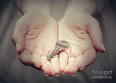 Key Photograph - Key In Woman's Hand In Gesture Of Giving. Concept Of Success In Live, Business Solution, Real Estate Etc by Michal Bednarek