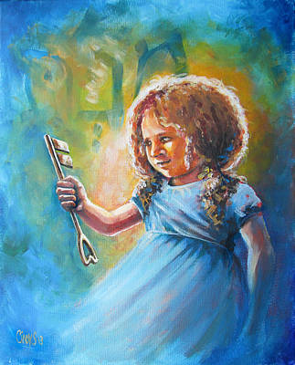 Christian Artwork Painting - Key Of Heaven by Tamer and Cindy Elsharouni