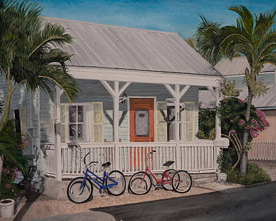 Painting - Key West Bicycles by John Schuller