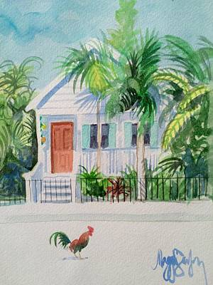 Streetscape Painting - Key West Cottage by Maggii Sarfaty