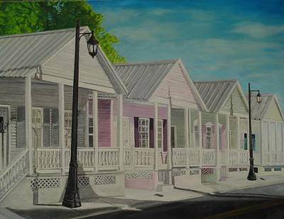 Painting - Key West Cottages by John Schuller