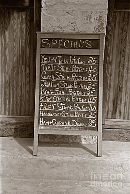 Photograph - Key West Depression Era Restaurant Specials by John Stephens