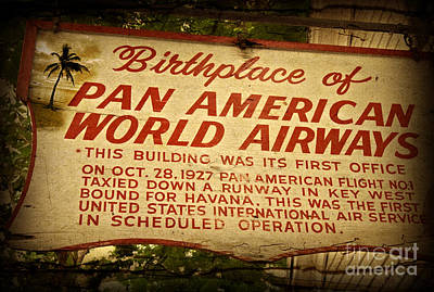 Photograph - Key West Florida - Pan American Airways Birthplace Sign by John Stephens