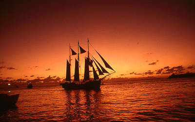 Photograph - Red Sunset Sky At Key West Florida by Art America Gallery Peter Potter