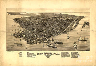 Photograph - Key West Florida Vintage Map 1884 by John Stephens