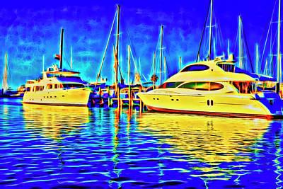 Key West Glow Boats Art Print by Charles Haaland