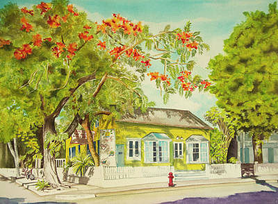 Wall Art - Painting - Key West Home by Terry Arroyo Mulrooney