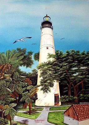 Key West Lighthouse Art Print by Riley Geddings