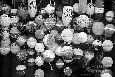 Photograph - Key West Lobster Buoys Black And White by John Stephens