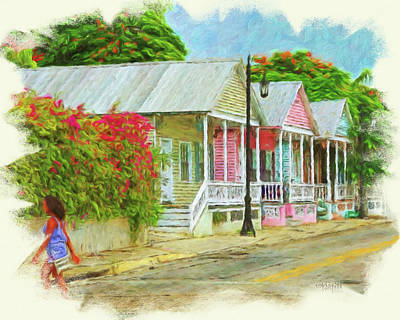 Photograph - Key West Shotgun Houses by Rebecca Korpita