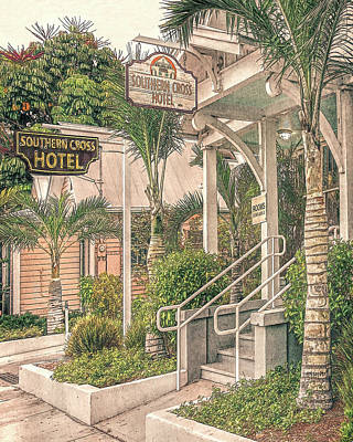 Digital Art - Key West Southern Cross Hotel by Rebecca Korpita